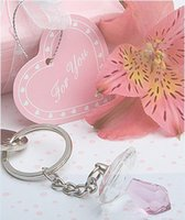 porte-clés bleu bébé achat en gros de-Faveurs de douche de bébé et cadeau rose et bleu cristal mamelon porte-clé en cadeau boîte bébé baptême cadeau de fête d'anniversaire