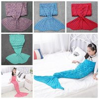 Wholesale Crochet Cocoon Wholesale - 9 Colors 140*70cm Mermaid Knitted Blankets Kids Mermaid Tail Blankets Sleeping Bags Crochet Cocoon Mattress Mermaid Blanket CCA7393 10pcs