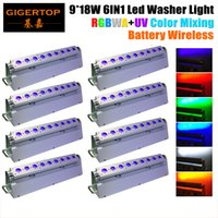 Wholesale Usa D - TIPTOP 8XLOT 6IN1 Battery Operated Wireless DMX Led Wall Washer Light 9pcs 18Watt RGBWA UV Leds Built-in D-Fi 2.4G Transceiver