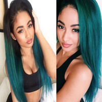 Wholesale Cheap Wholesale Bleach - Fashion Short Human Hair Weave 1B Green Ombre Color Brazilian Virgin Straight Hair Bundles 3Pcs lot Cheap Ombre Brazilian Hair