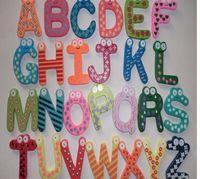 Wholesale wooden magnets children resale online - Children Kids English Alphabet Refrigerator Magnets Big Anti Rust Thickened Baby Wooden Fridge Magnet Magnetic Sticker