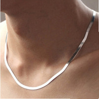 Wholesale Men S Necklace 925 Silver - 2017 New arrival hot sell men jewelry snake chain 925 sterling silver men`s necklaces jewelry birthday gift drop shipping