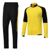 Wholesale Football Clothing Sale - hot sale Dortmundes tracksuit Jacket Set Men Kit long sleeve Training suit pants football Borussia Aubameyang Reus clothes sports wear