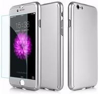 iphone корпус бокал для мобильного оптовых-Роскошный тонкий случай мобильного телефона крышка тела 360 градусов Полная с закаленным стеклом на Iphone 7 7plus