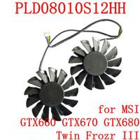 tarjeta gráfica ventilador de 12v al por mayor-Al por mayor nueva lógica POTENCIA PLD08010S12HH 74mm 52mm 12V 0.35A 4Pin para el ventilador de la tarjeta gráfica MSI GTX660 GTX670 GTX680 Twin Frozr III