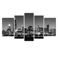 5 Picture Canvas Paintings Wall Art Preto e Branco Chicago City Night View Paintings Artwork com madeira emoldurada para decoração de casa