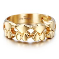 Wholesale Ring Teddy - R039S Stainless Steel 316L Teddy Bear Unadjustable Finger Ring Fashion Jewelry Gold Silver Crystal Women Gift