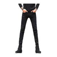 Wholesale Cheap Quality Mens Pants - Wholesale- 2017 Men Plus velvet warm Jeans Middle-waist Mens Casual Straight Mens black Jeans Male Long Cowboy Pants Cheap High Quality 53z