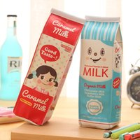 Wholesale cute pencil cases for girls - Creative Milk School Pencil Case Cute PU Leather pen Bag For Girls Kawaii Stationery pouch office school supplies