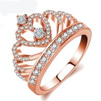 Wholesale Crown Design Jewelry Rings - Hot Designed 925 Sterling Silver Fashion Women Rose Gold Crown Ring Crystal Stone Wedding Jewelry Gift For Female