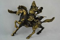 Wholesale Brass Horses - Elaborate Chinese Handwork Old Brass Guan Yu Ride Horse Lucky Big Statue
