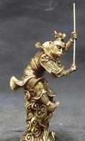 Wholesale Sun Light Art - Chinese Fine Folk@ Myth Bronze Monkey King Sun wu kong saint Buddha Statue