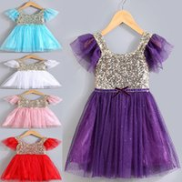 Wholesale Cheap Cute Puffy Dress - 2017 Cute Spring Summer Top Sequined Girl's Dresses Cheap Crew Neck Short Sleeves Princess Girls Party Gowns Tulle Puffy Kids Dresses MC0629