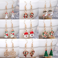 Wholesale Earring Christmas Bell - 21 Styles Christmas Charm Earrings Silver Golden Plated Dangle Rhinestone Drip Paint Christmas Tree Snowflake Bells Deer Jewelry Decoration