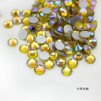 super citron achat en gros de-Super brillant 1440pc SS3-SS30 Verre Cristal AB 3D Citron Jaune Nail Art Pierres Strass Plat Argent Non Hotfix Nails Art Décorations