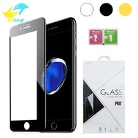 Wholesale Drop Proof - 3D Round Edge full cover Screen Protector Drop Proof HD Clear Tempered Glass for iPhone 6 6s plus 7 7 plus Black white Gold Rose Gold