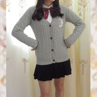 Wholesale Sailor Moon Uniform - Wholesale- Jk Uniform Sailor Moon Embroidery Long Sleeve V Neck Cardigan Sweater Knitwear woman sweater