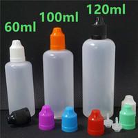 plastikflaschen für e saft großhandel-Bunt 60 ml 100 ml 120 ml Tropfflasche E leer 60 100 120 ml PE Vape Cig Juice Plastikflaschen mit langen, dünnen Spitzen