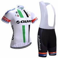 Wholesale Giant Cycling Jersey White - 2017 Giant Cycling Jerseys bib shorts set Bicycle Breathable sport wear cycling clothes Bicycle Clothing Lycra summer MTB Bike White & Brown