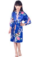 Wholesale summer pjs online - 2017 summer girls peacock Rayon Silk Robe Sleepwear Lingerie Nightdress Pajamas Satin Kimono Gown pjs bathrobe dress