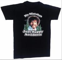 Wholesale Happy T Shirt - Summer Fashion T Shirt Gildan Compression Bob Ross Inc Happy Accidents O-Neck Short-Sleeve Mens T Shirts