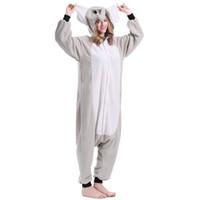 Wholesale Adult Mascot Costume Elephant - Mejorhome Adult Unisex Animal Pajamas Elephant Flannel Sleep Costumes Lovely Warm Comfortable Mascot Costume New Fashion Theme Slumber Party
