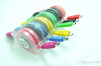 Wholesale Usb Cable Led Retractable - Retractable Colorful Smile Face V8 Cable 1m LED Light Micro USB Cable Visible Flashing Noodle Data Sync Charger USB Cable for Samgsung