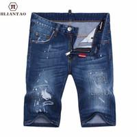 Wholesale Trouser Shorts Jeans Pants - Wholesale- New Arrival denim men ripped Short jeans hip hop straight slim jeans men denim Short pants male trousers size 28-36 1498
