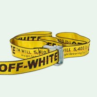 Wholesale Embroidery Belt - Off White C O Virgil Abloh Belts Men Women Yellow Logo Letters Embroidery Cut Me Off High Street Hip Hop Skateboard Kanye Belts