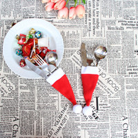 Wholesale Dining Forks - Wholesale- 24pcs Christmas Decor Pretty Hat Pattern Xmas Sock Tableware Cutlery Bags Dining Table Decorations Fork Pocket Candy Bag