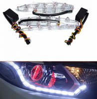 2pcs / set Universal 16LED Car Flexible White Yellow Switchback LED Strip Light pour phare Dual Color DRL Turn Signal
