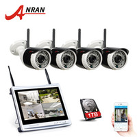 Wholesale Security System 4ch Wifi - Plug Play ANRAN 4CH Wifi CCTV System 12 Inch LCD NVR P2P 720P HD 36IR Night Vision IP Camera Outdoor Security Camera System 1TB HDD Optional