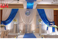 ingrosso sottovesti reali-3 * 6M Ice Slik Fabric WeddingParty Backdrop Curtain With Royal Blue staccabile swag bella sottoveste in cima