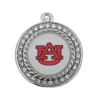 Wholesale Enamel Tiger - 10PCS Metal Enamel Sport Team Fit For Necklace Bracelet Earring Pendant Charms NCAA Auburn Tigers DIY Sport Pendant Jewelry