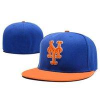 Wholesale Top Trucker Hats - Fitted Hats of Mets Baseball Snapback Caps Flat Brim Trucker Hats Blue Orange Snap Back Top Quality Flat Cap Mens Womens Outdoor Hat