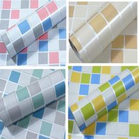 Wholesale self adhesive wallpapers - Waterproof Wall Sticker PVC Mosaic Tile Wallpaper Self Adhesive Paster Walls Paper Antistatic Stickers Wallpapers Non toxic New 1yw A