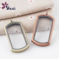 Wholesale Wholesaler Glass Photo Frames - Can Open Photo Frame Rectangle Smooth DIY Living Memory Locket Two Colors Pendant Glass Floating Lockets Pendants No Chain 4 5tt B