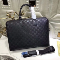 Wholesale Leather Document Bags - Famous damier Infini Genuine Leather laptop bag cross body Porte-Documents Double Zipper business briefcase computer bag N41248 With Straps