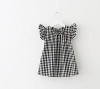 Wholesale Girls Tartan Dresses - Girl's plaid tartan dress cheap children's grid sleeve dress a girl doll unlined upper garment