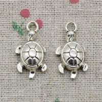 silver plate turtle charms wholesale Australia - 100pcs Charms Antique Silver tortoise turtle sea 23*12mm Pendant Zinc Alloy Charms Pendant DIY Makeing Jewelry Bracelet Necklace Fittings