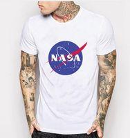 Wholesale Men Graphic Shirt - 2017 white NASA Space tshirt Retro T-shirt Harajuku Men Cotton Shirts NASA Graphics t shirt Casual white black shirt men tee