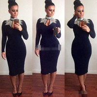 Wholesale Plus Size Bodycon Satin Dresses - Sexy Black High Neck Mermaid Tea Length 2017 New Cocktail Dresses Major Beaded Bodycon Long Sleeves Evening Prom Gowns Dress for Party Wear