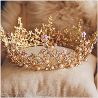 Wholesale Crown Vintage Key - 2017 Luxury Crystal Pearls Gold Wedding Bridal Crown Hair Accessories Baroque Vintage Headwear Handmade New Style Jewelry Set Free Shipping