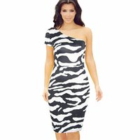 kim kardashian stil kleider großhandel-2017 Kim Kardashian Mode Sexy Oblique Kragen Herbst Kleid Knie-Länge Vestidos Kurzarm Zebra-Print Casual Bodycon Kleider PF-034