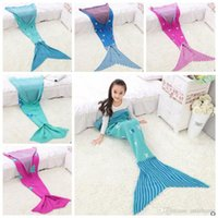 Wholesale Christmas Beds Bag - Kids Mermaid Tail Blankets Christmas Mermaid Blanket Mermaid Cocoon Costume Fish Tail Bedding Wrap Sleeping Bags Air-Condition Blanket B1326