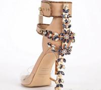 ingrosso sesso della donna di caricamento-Edizione limitata Transpare Sandali con tacchi alti in perspex Sandali di qualità di lusso Sandali da donna Stivali Peep Toe Strass Lock Design Scarpe Donna