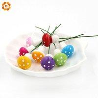 ingrosso piante in miniatura-100 Pz / lotto Mini 1.5 CM Multicolore Resina Artigianato Funghi Da Giardino Ornamento Piante Vasi In Miniatura FAI DA TE Dollhouse Giardino Miniature