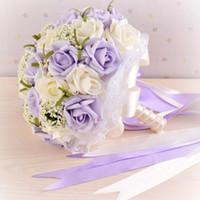 mor çiçek bilek toptan satış-2018 Gelin Tutan Çiçekler El Yapımı Çiçekler Gelin Buketleri Mor İnciler Düğün Buketleri ile Bilek Korsaj Hediye Yapay Çiçekler