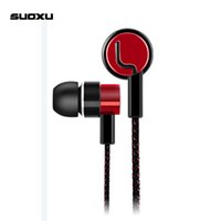 Wholesale Cloth Wire Red - SK-18 Metal Luxury Earphones Standard Noise Isolating Reflective Fiber Cloth Line 3.5mm Microphone Stereo In-ear Earphone