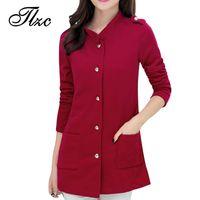 Wholesale Collar Decorated Ladies - Wholesale- Belt Decorate Lady Slim Jackets Plus Size L-4XL Korean Trendy Big Pockets Design Single Breasted Charm Woman Fashion Coat